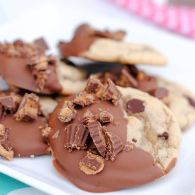 Chocolate Chip Cookies Dipped in Chocolate and Reese's!