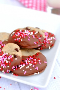 Chocolate Chip Cookies Dipped in Chocolate and Covered in Sprinkles