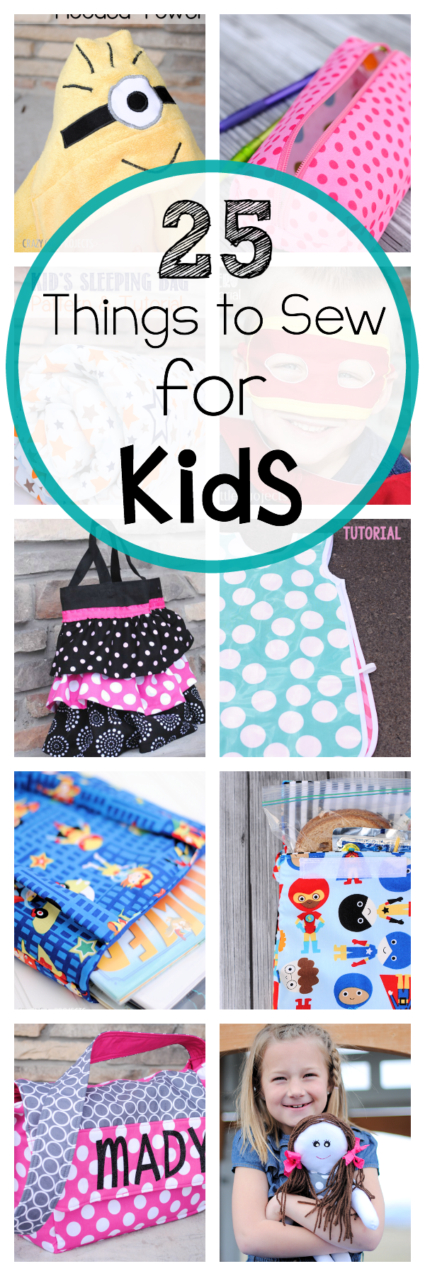 25 Sewing Patterns for Kids-So many cute and easy things to sew for kids. You're going to love them! #sew #sewing #patterns #pattern #kids