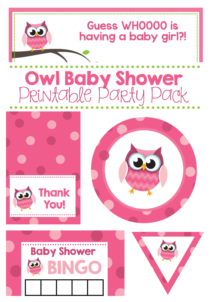 Pink Owl Baby Shower Printable Party Pack