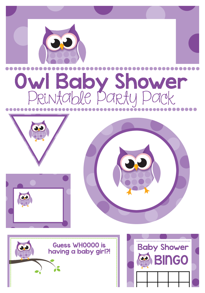 Purple Owl Baby Shower Printable Pack Crazy Little Projects