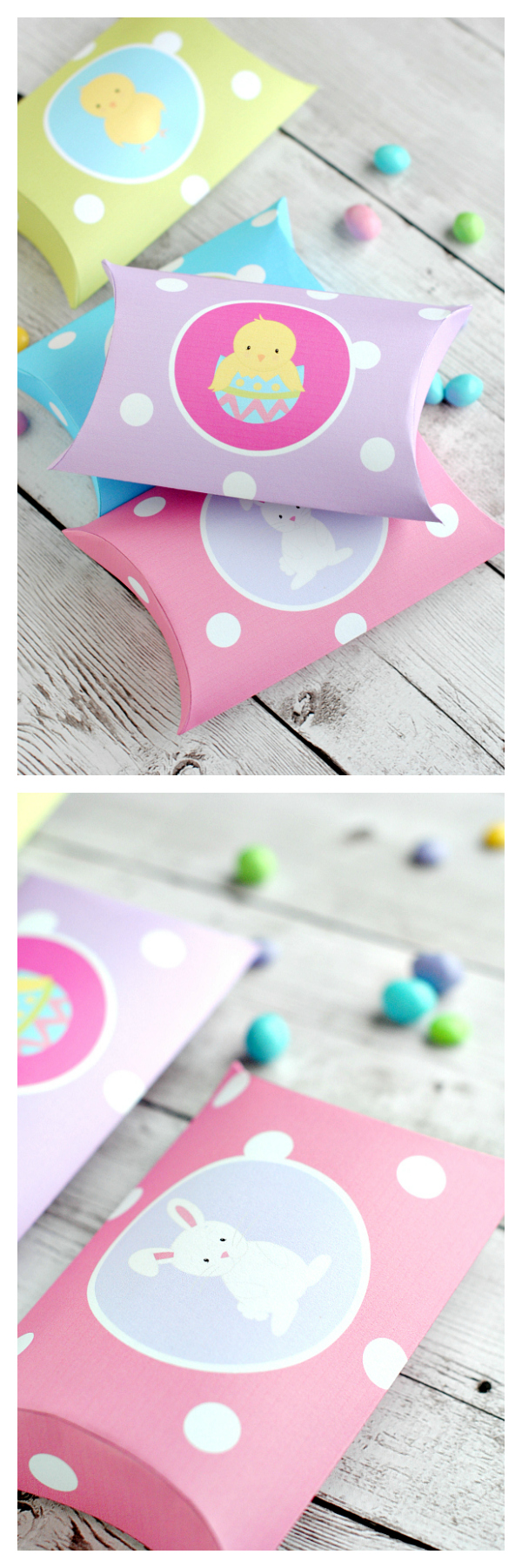 Cute Easter Crafts: All you have to do is print these cute Easter pillow boxes and fill them with candy and you've got a cute Easter favor or little gift! #easter #eastercrafts