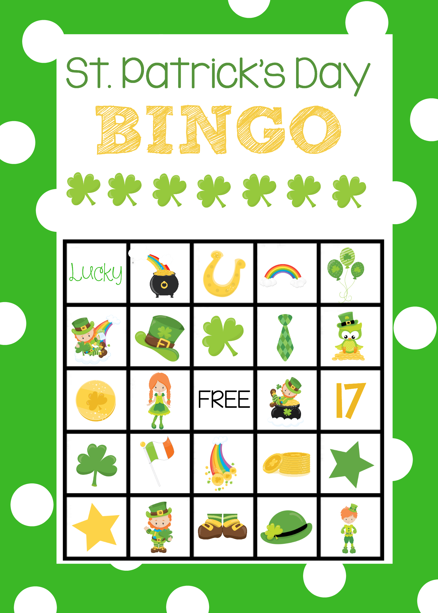 St. Patrick's Bingo Boards