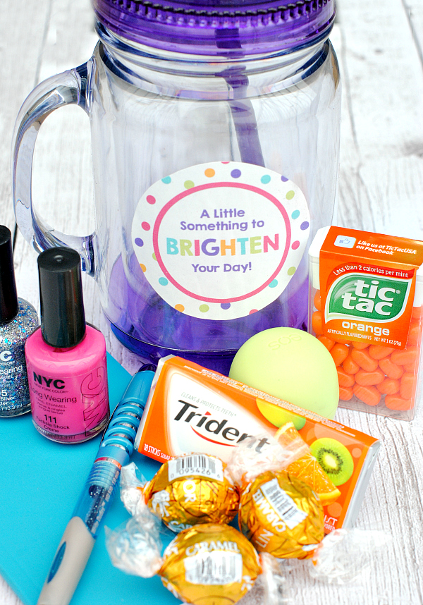 Fill a jar fill of fun, bright stuff and give it to a friend
