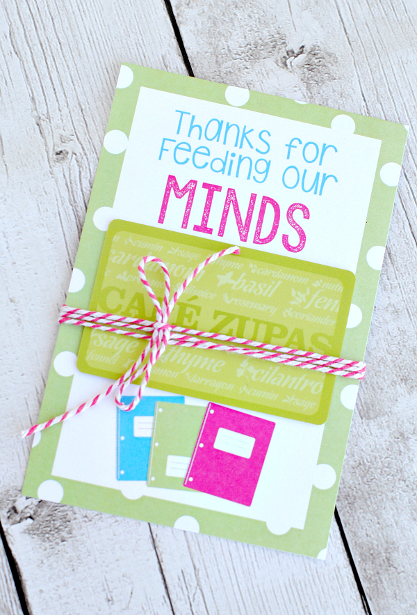 Teacher Appreciation Gifts-Printable Gift Card Holders