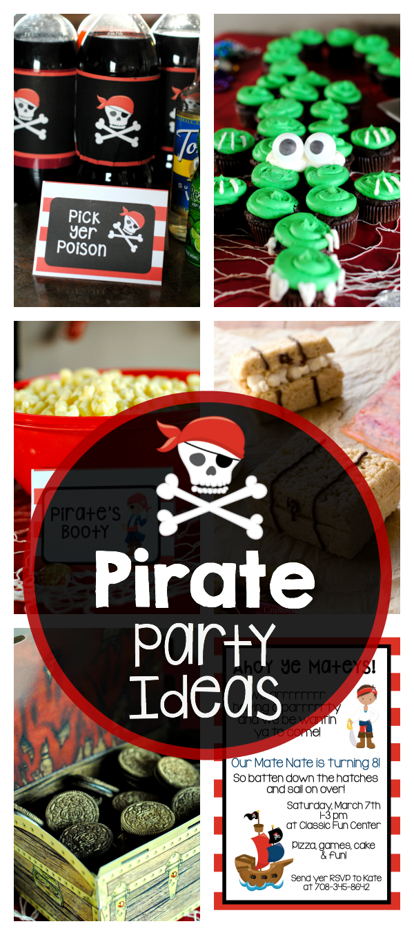 Pirate Party Ideas-This fun pirate party is fun for kids or even adults. Games, decorations, pirate food, invitations and more great pirate party ideas! #pirate #party #partyideas #partydecorations