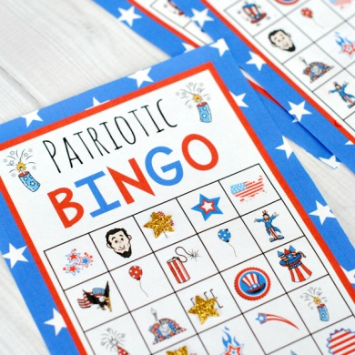 Patriotic 4th of July Bingo Game Cards