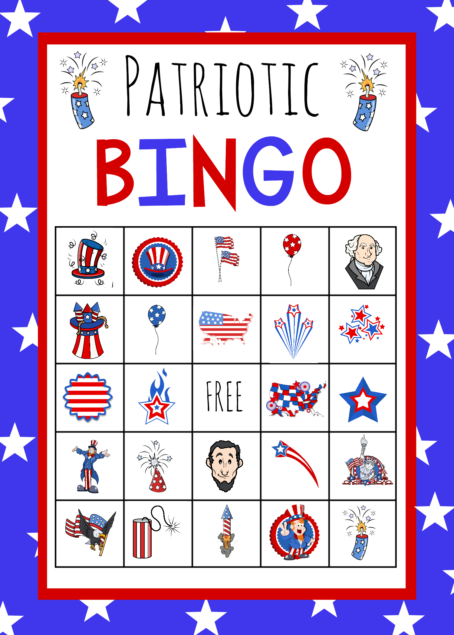 Patriotic 4th Of July Bingo Game To Print