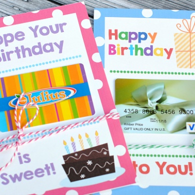Printable Birthday Gift Card Holders