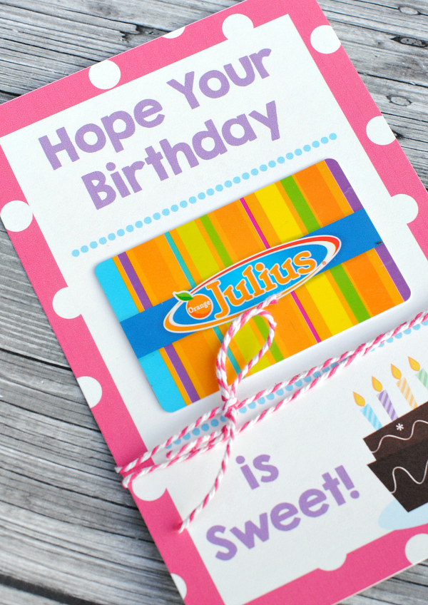 Fun birthday gift ideas for friends crazy little projects free printable birthday gift card holder negle Image collections