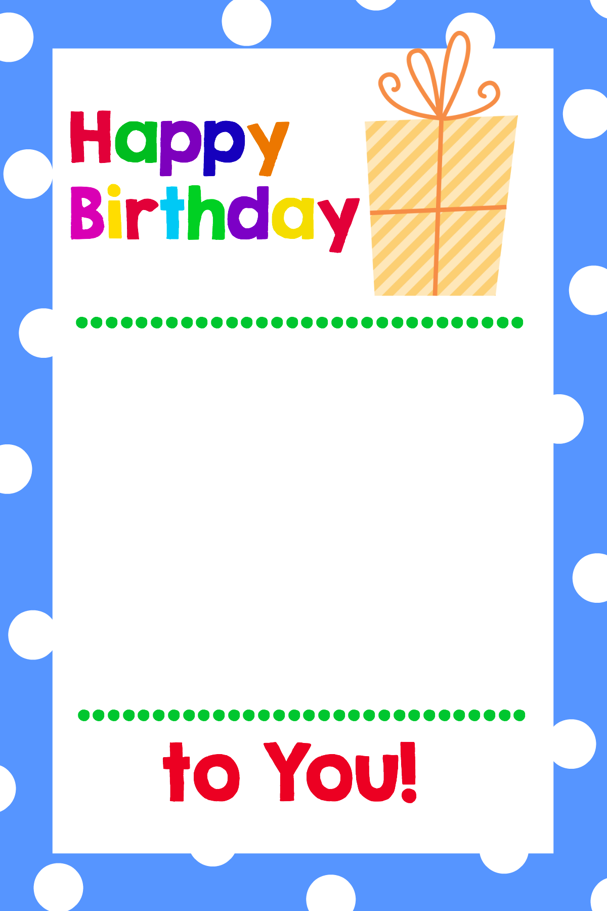 Printable Birthday Gift Card Holder