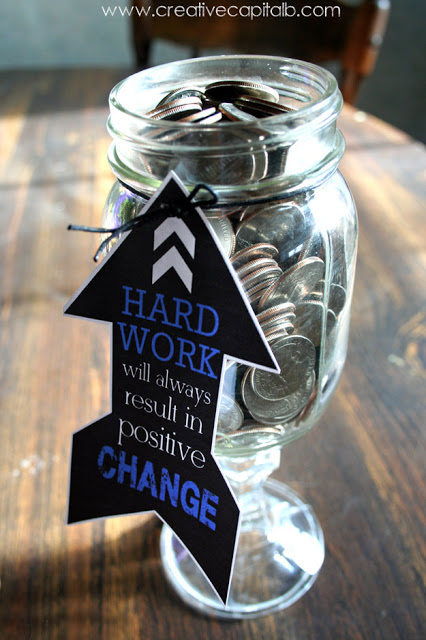 Graduation Gift Big Change in a Mason Jar with Printable