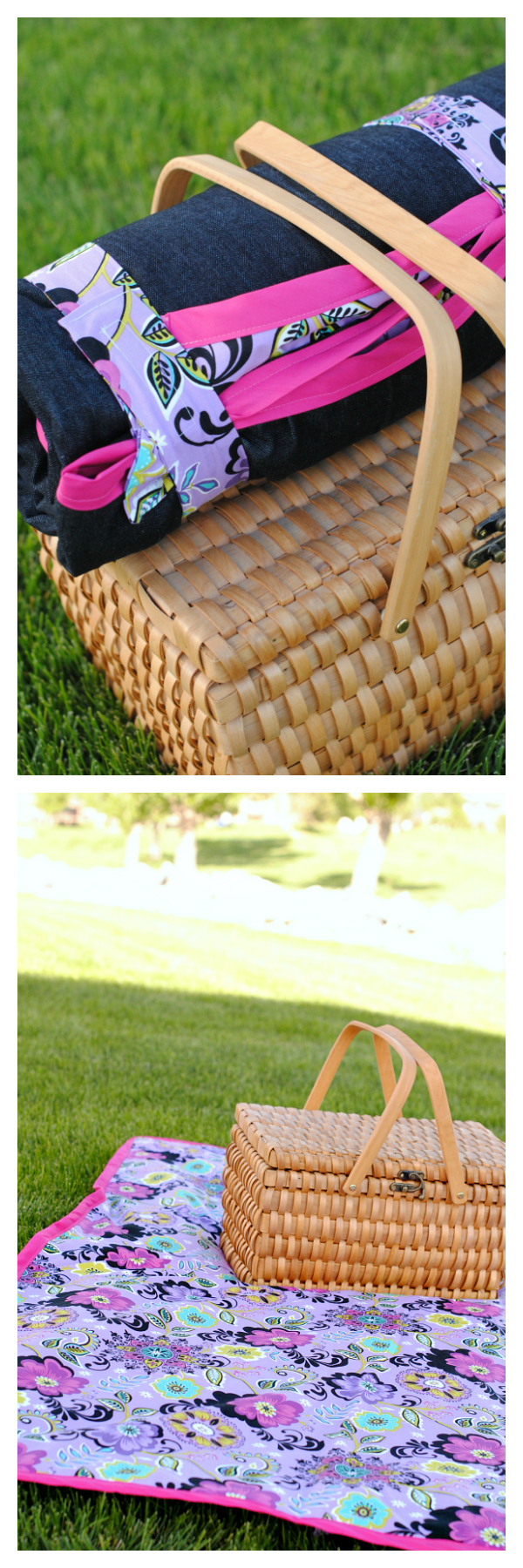 Cute DIY Picnic Blanket Tutorial that rolls up for easy storage