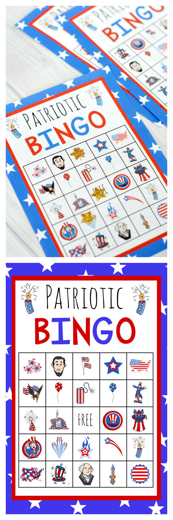 Free Printable America Bingo-Perfect for the 4th of July, this 4th of July bingo game is fun for the kids to play while they wait for the fireworks! #4thofjuly #bingo #kids #kidsactivities