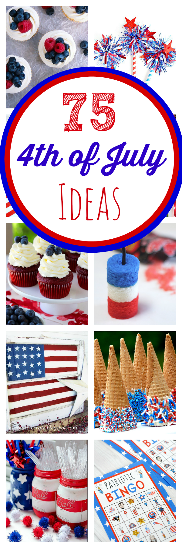 TONS of great 4th of July party ideas! Crafts, games, food, decorations and more. #4thofJuly #independenceday #4thofjulyparty #4thofjulyfood #4thofjulydesserts #4thofjulydecorations