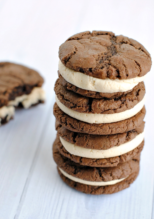 Soft, Chewy, Peanut Butter and Chocolate Sandwich Cookies