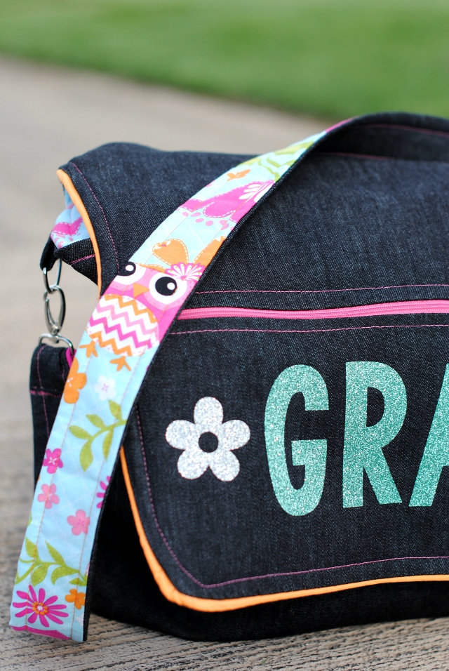 Kid's Messenger Bag Pattern-This cute bag makes a great school bag for girls or boys. Personalize it with the kiddo's name and use cute fabrics they will love for a wonderful school bag for kids. #sewing #sew #pattern