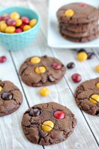 Chocolate Peanut Butter M&M Cookies