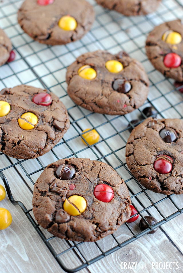 Chocolate Peanut Butter M&M Cookies - Perfect chocolatey cookies with peanut butter AND Peanut Butter M&M's inside! You're going to love this cookie recipe. #peanutbutter #chocolate #cookies #baking #bake #dessert