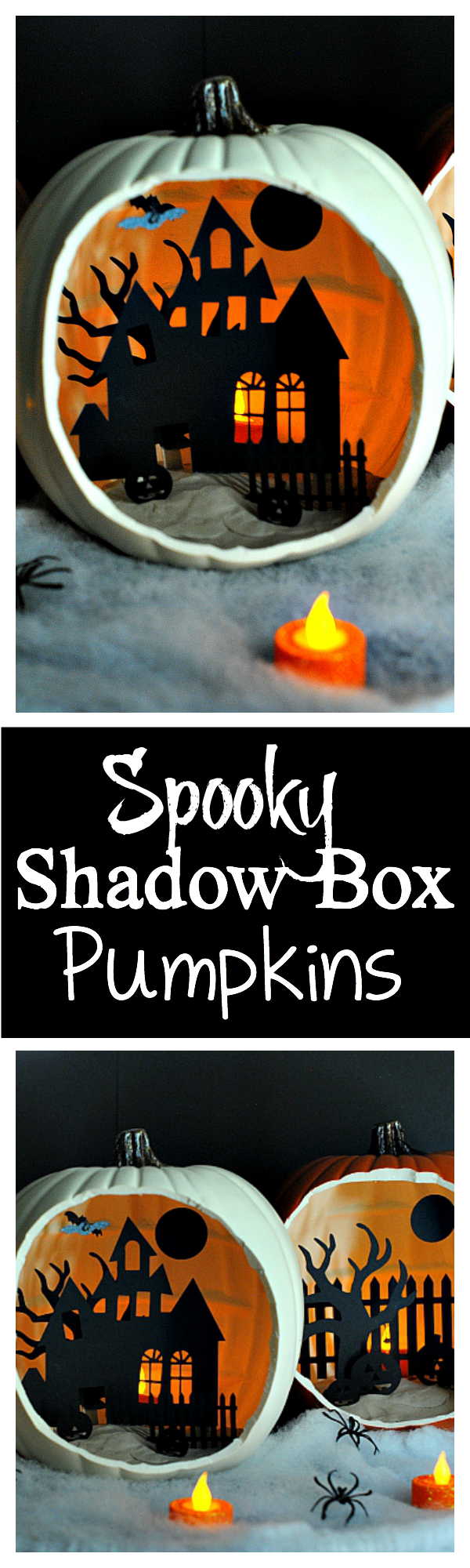 Shadow Box Pumpkins-These cute DIY Halloween decorations are easy to make and you can create several of them to decorate your house at Halloween! So cute and so fun! #Halloween #Halloweendecorations #crafts #Halloweencrafts #pumpkins