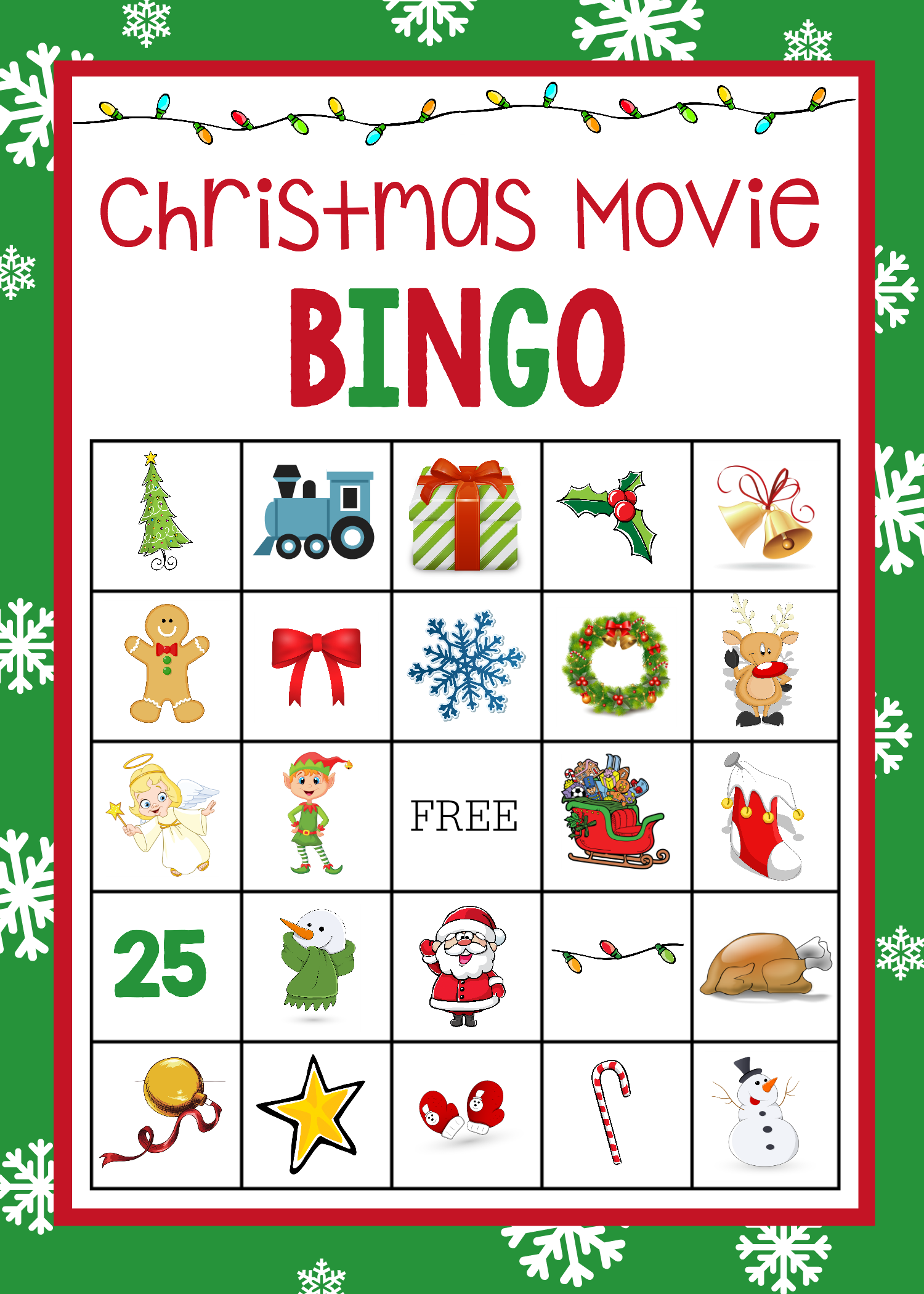 Christmas Movie Night Bingo Game