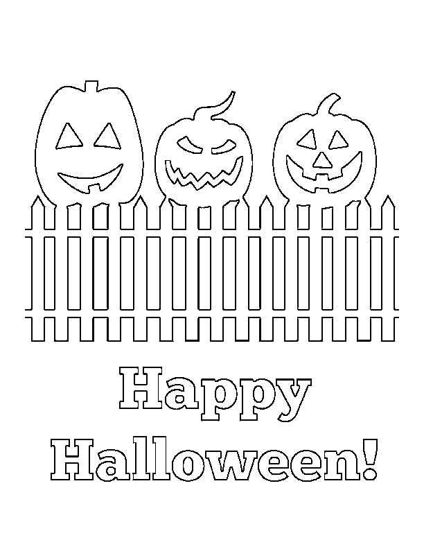 jackolantern happy halloween coloring page - Halloween Free Coloring Pages