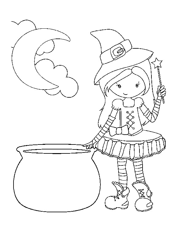 free printable witch coloring page - Halloween Free Coloring Pages