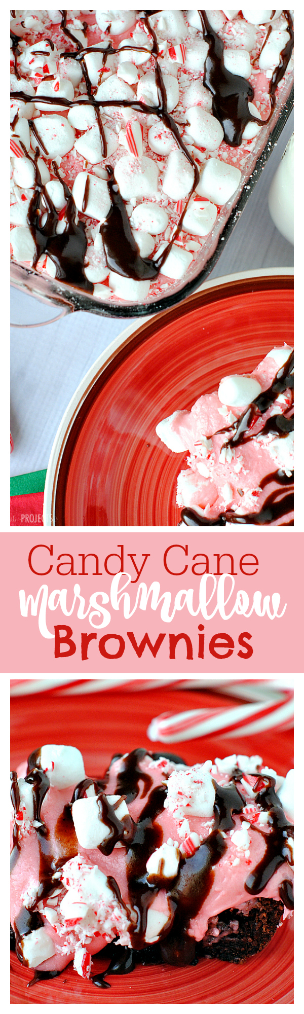 Candy Cane Dessert for Christmas: Peppermint Marshmallow Dream Brownies-So good and so easy to make! A great Christmas treat for a party. #christmas #christmasdessert #dessertrecipes