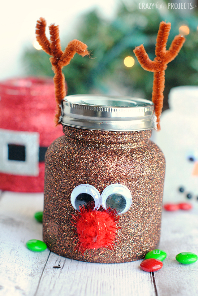 Christmas Mason Jar Crafts for Kids- Reindeer Mason Jar