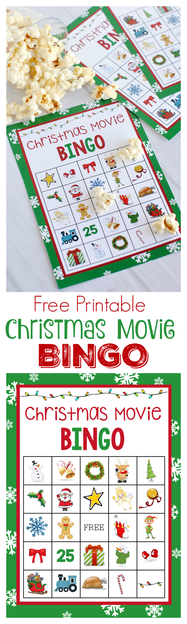 Christmas Movie Night Bingo Game-Print and play with the family while you watch the show!