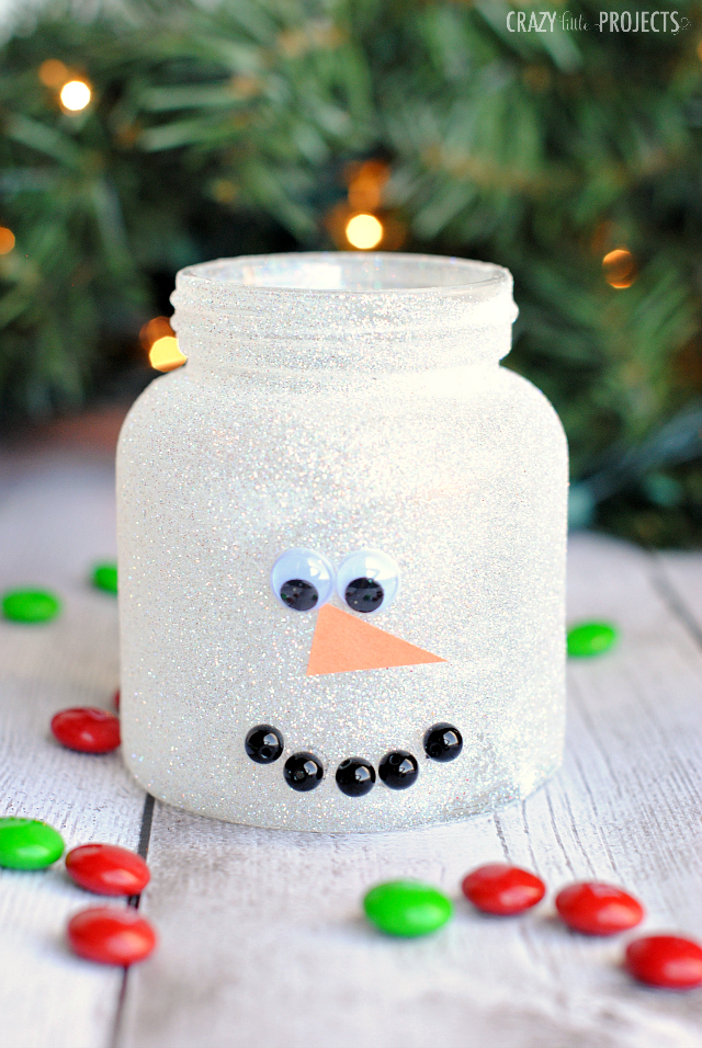 snowman mason jar craft for kids - Christmas Jar Decorations
