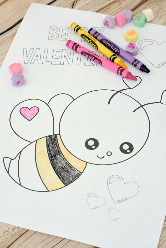Valentine's Coloring Page for Kids to print and color-These Valentine's Day coloring pages are so cute and are perfect for kids to color at a Valentine's Day party or at home. #valentinesday #valentinesdayparty #kids