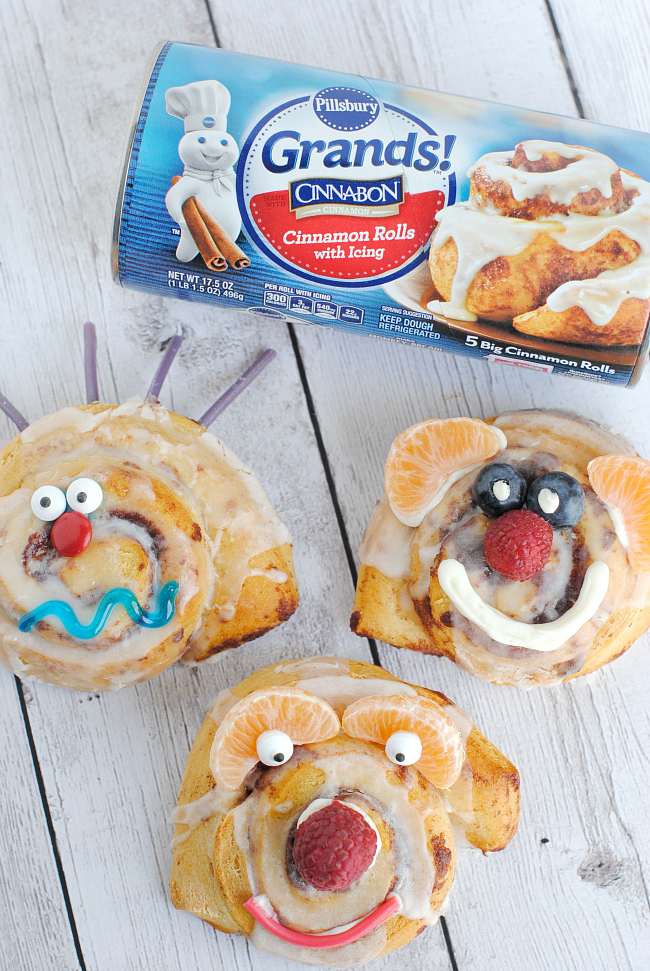 Silly Face Cinnamon Rolls Breakfast for Kids