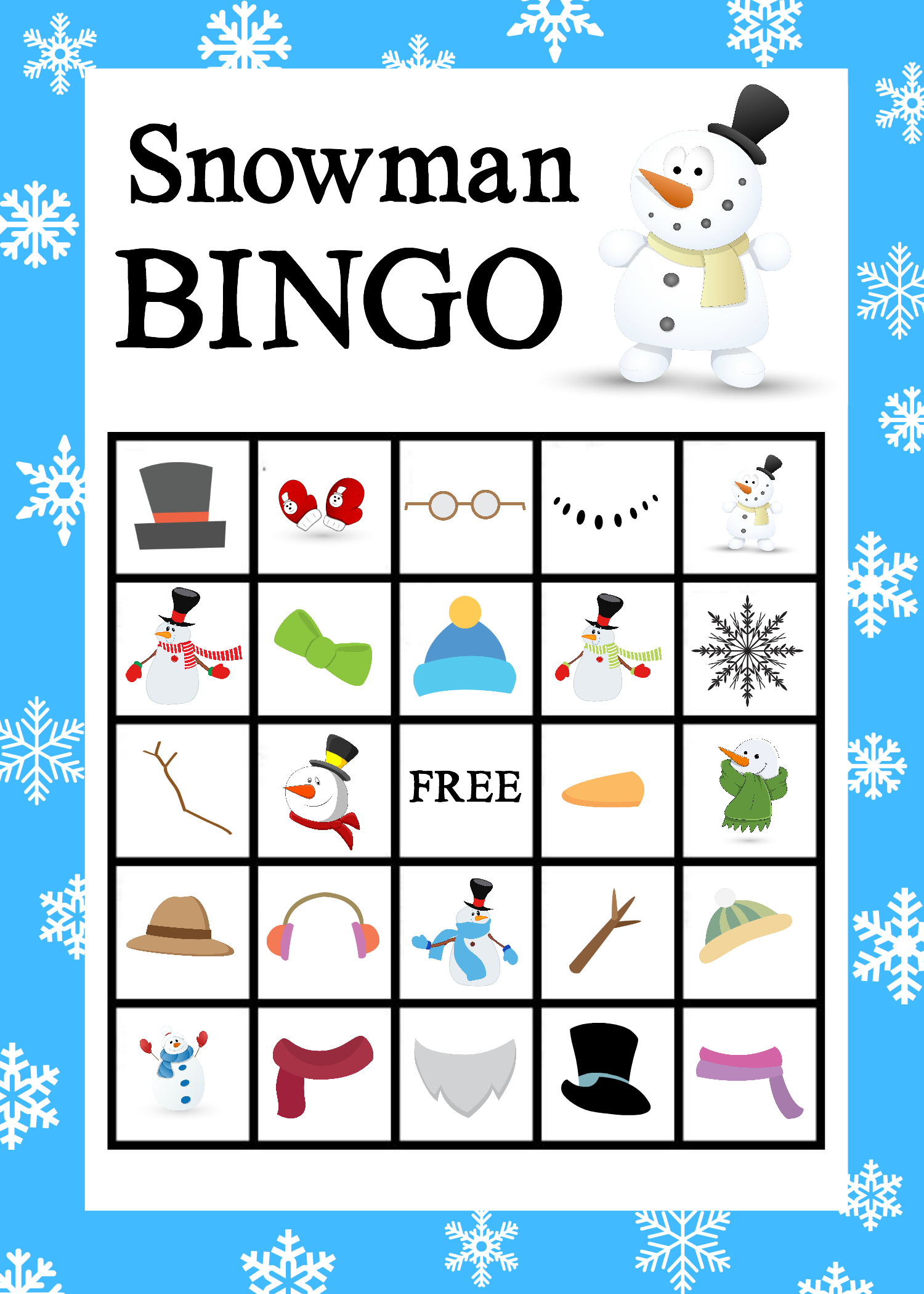 A Game For Free : Printable snowman bingo game crazy little projects