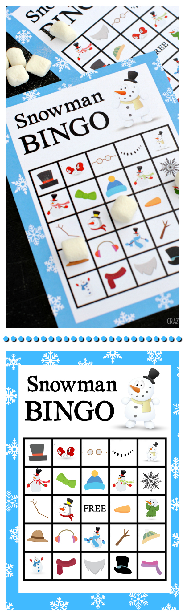 Free Printable Snowman Bingo Game-Great Winter Activity for Kids