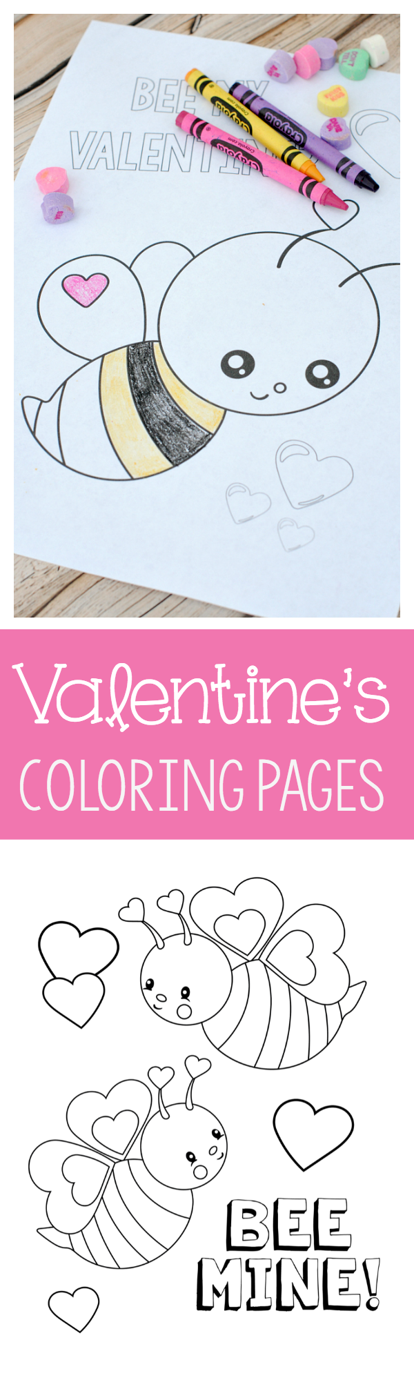 Free Printable Valentine's Coloring Pages-These cute coloring pages are perfect to print and color with the kids. Valentine's Day coloring pages are also great for kid's Valentine's Day parties. #valentinesdayparties #valentinesday #valentines #kids