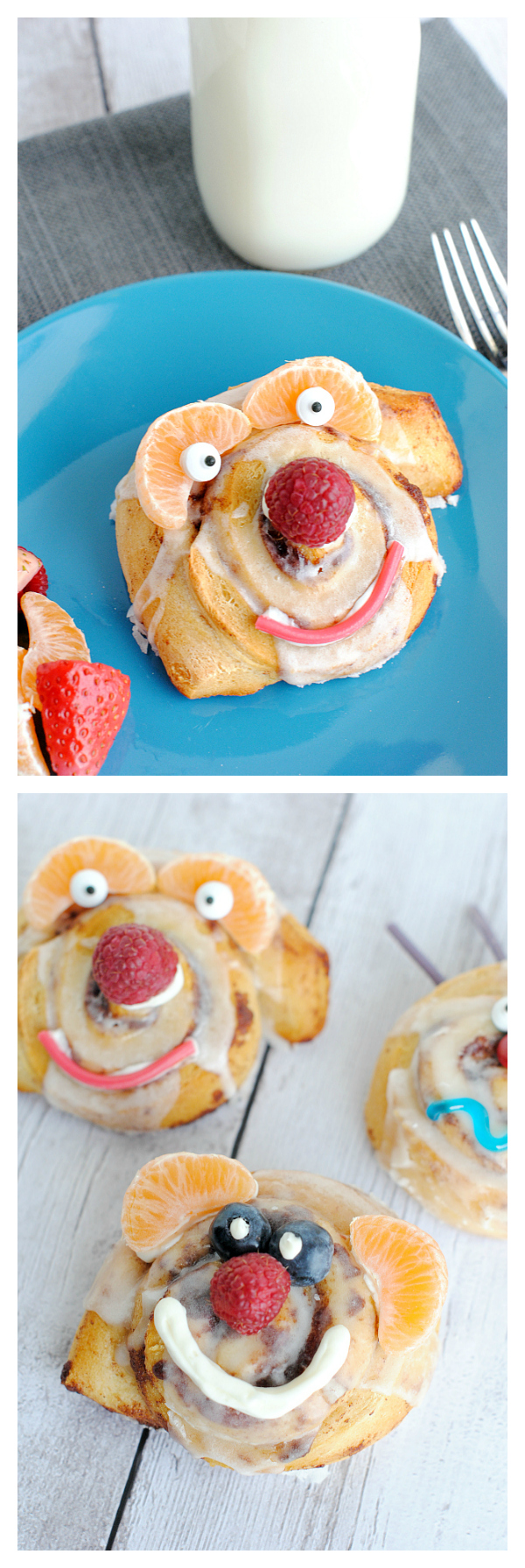 Funny Face Cinnamon Rolls-Fun Breakfast Idea for Kids! They will love it if you make it for them or they can make their own! #kids #breakfast
