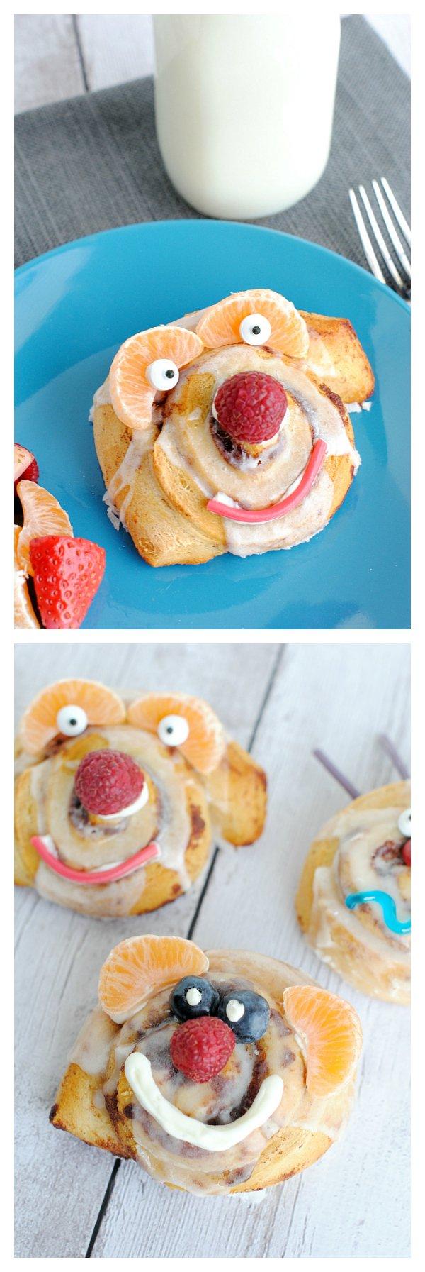 Funny Face Cinnamon Rolls-Fun Breakfast Idea for Kids!
