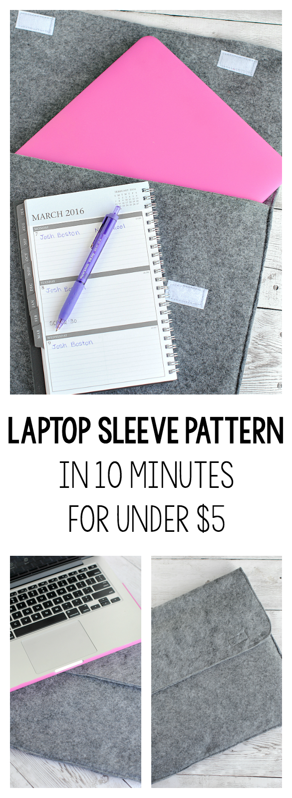 DIY Laptop Sleeve Tutorial-Make it in Ten Minutes! This great sewing pattern is super easy to sew and costs less than $5 to make! A great beginner sewing project. #sew #easypatterns #freepatterns