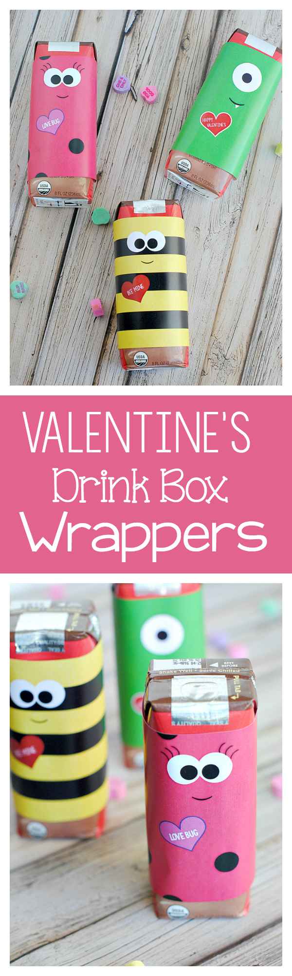 Cute Valentine's Drink Box Wrappers-Perfect for a kid's party! Just print and wrap!