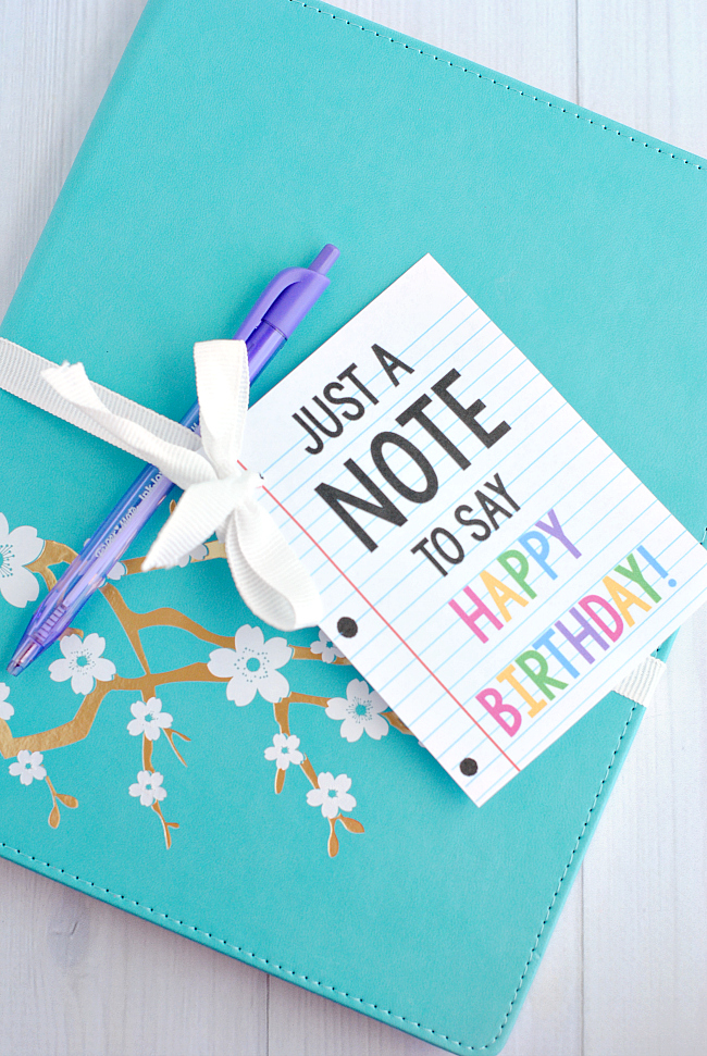 Creative Birthday Gift Idea-Grab a cute notebook and add this cute printable tag and you've got a fun and simple birthday gift for friends! #birthday #gift #giftideas
