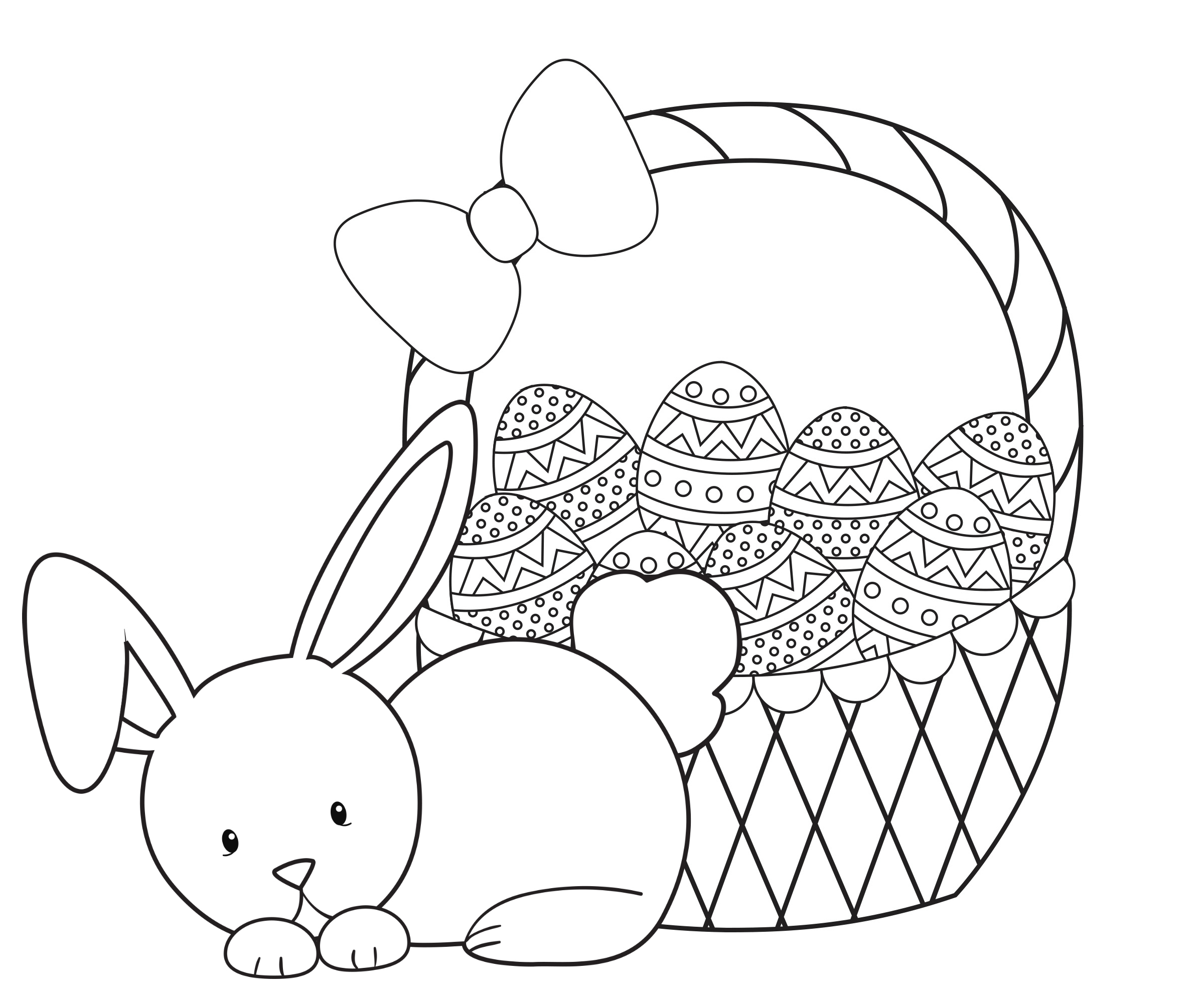 BunnyBasketColoringPage Easter Friends Coloring Page