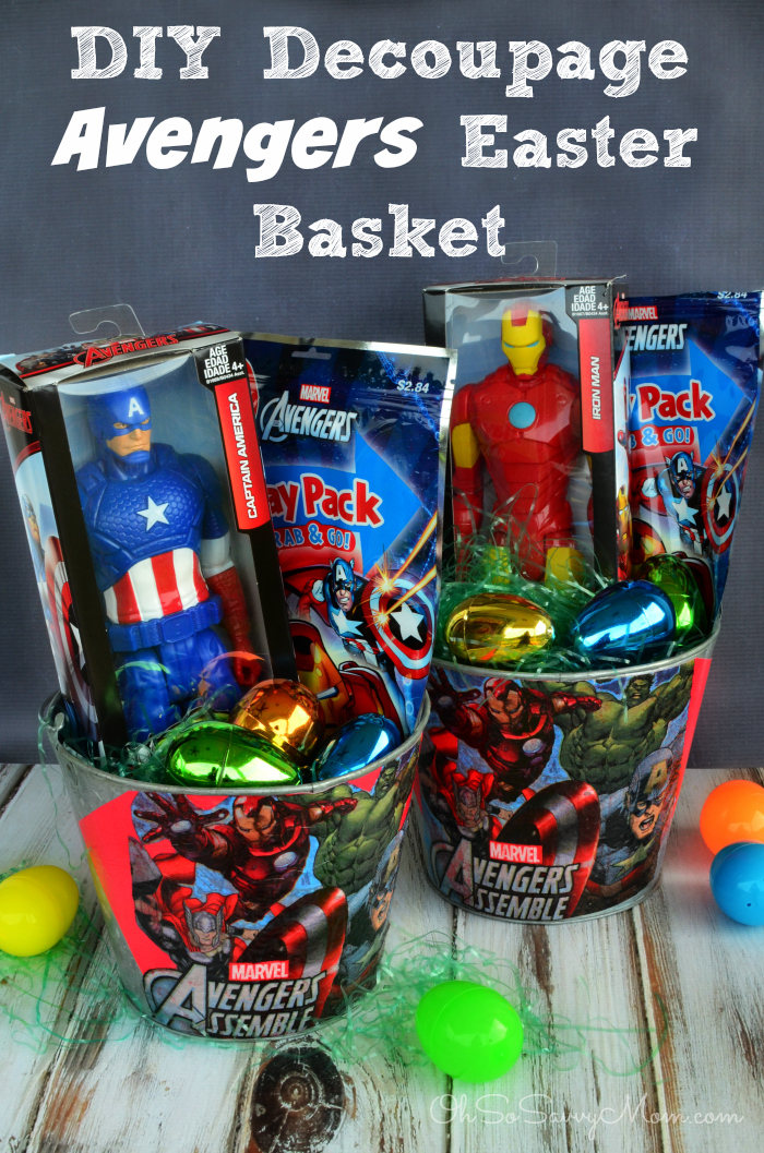 25 great easter basket ideas crazy little projects decoupage diy avengers easter basket negle Images