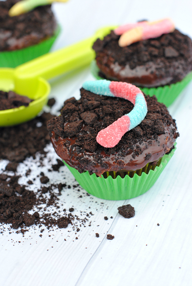 Dirt Pudding Cupcakes with Chocolate Ganache and Cream Filling