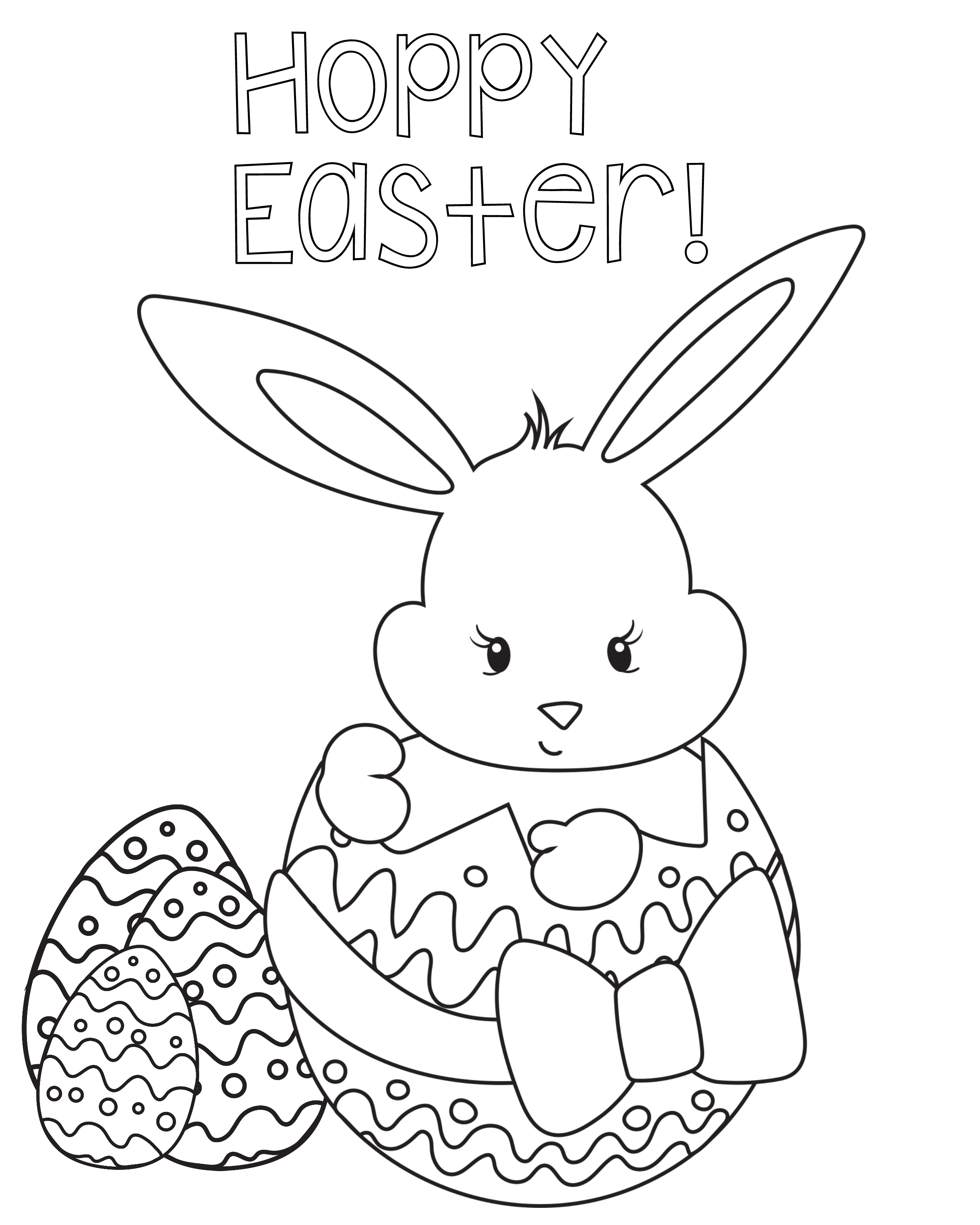 Bunny Pictures To Color For Easter Painting Eggs Coloring Page Cute Pages Kids
