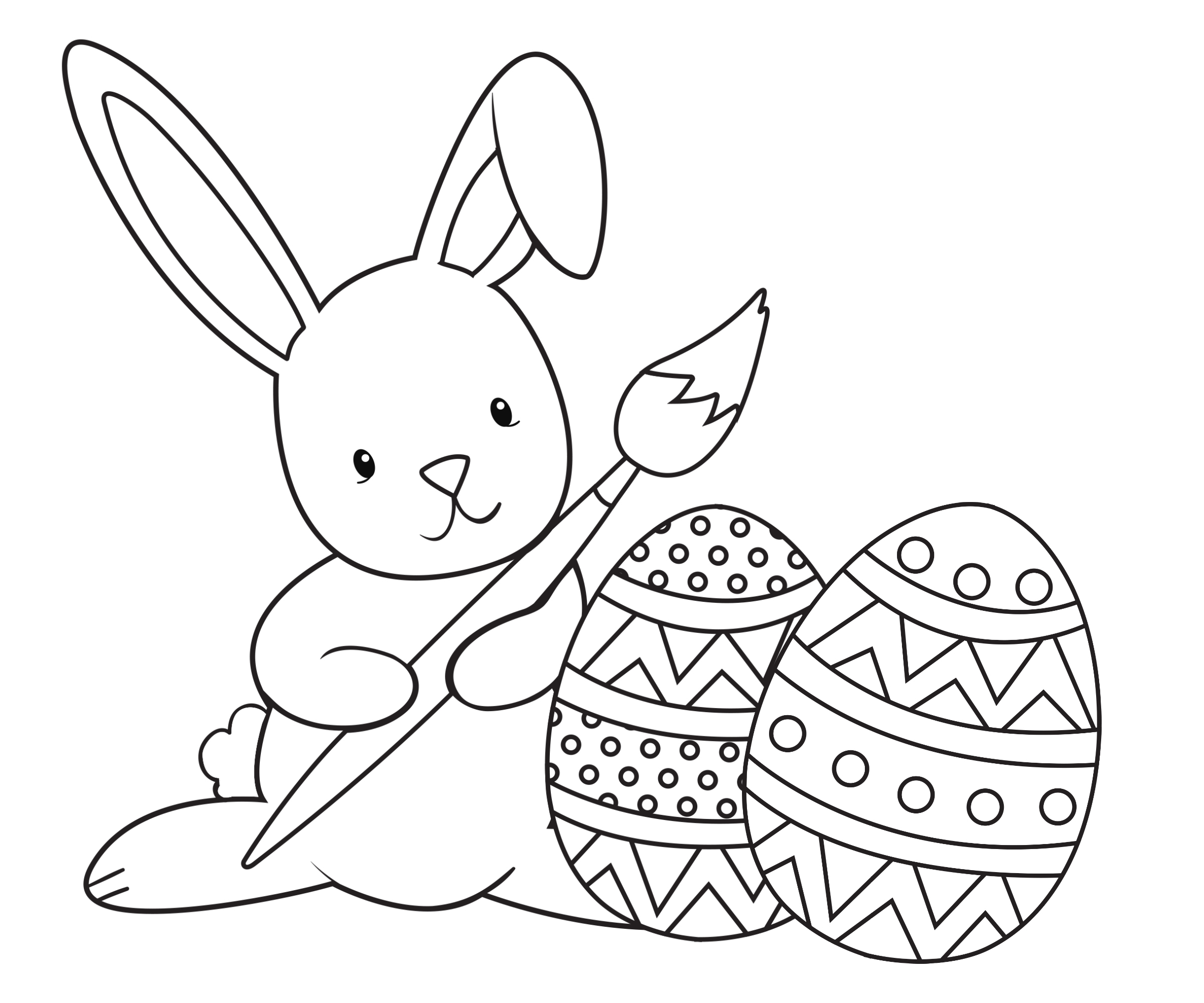 Coloring pages bunny - Hoppyeastercoloringpage Bunny Painting Eggs Coloring Page Paintingbunny