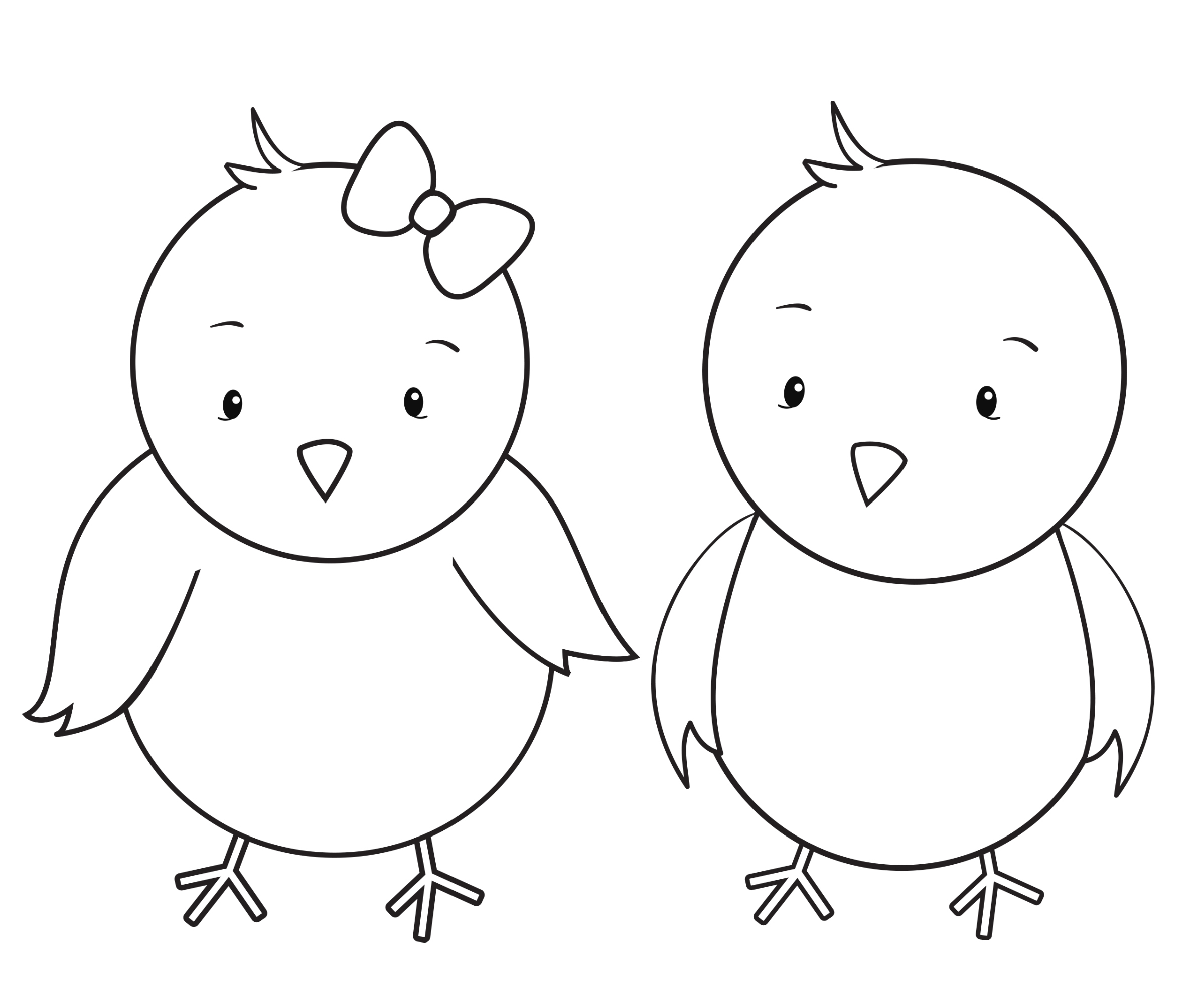 Two Little Chicks Coloring Page
