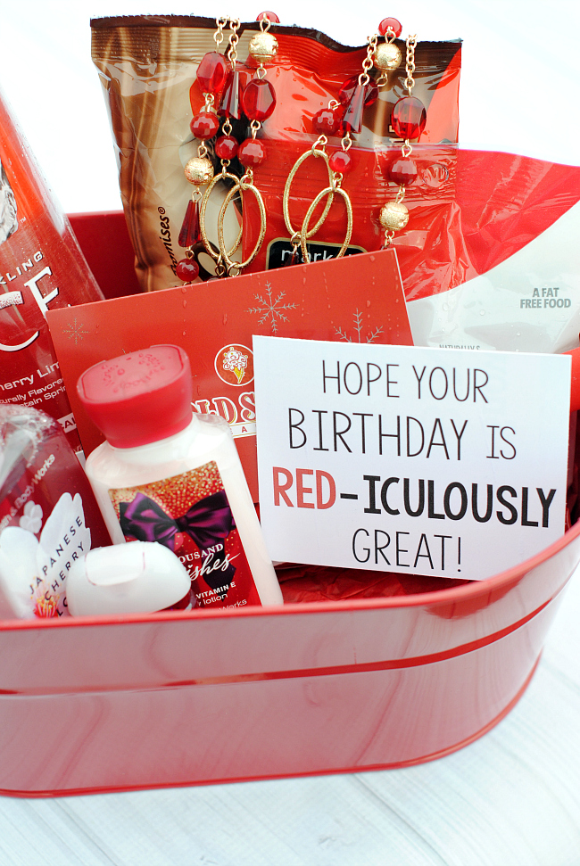 Cute gift idea for any occasion! Fill a gift basket with all things red and add this cute tag for friends, birthdays, Mother's Day, teacher appreciation and more! (Printable tags for other occasions too!) #gifts #giftideas #giftsforfriends #birthdaygifts #teachergifts
