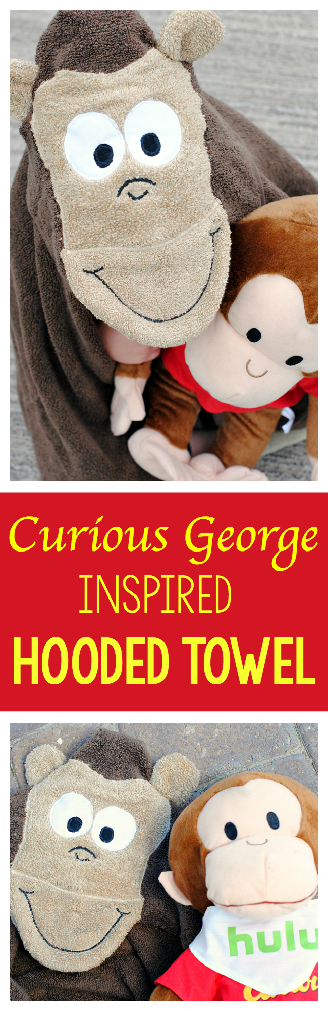 Curious George Monkey Hooded Towel