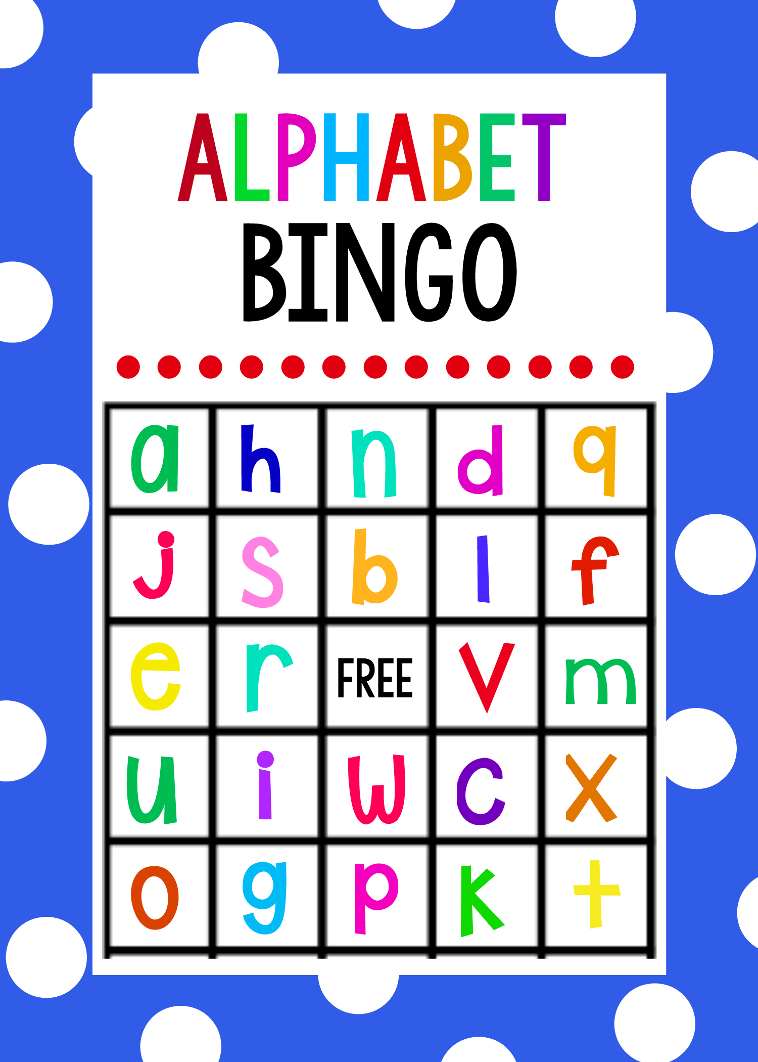 Lowercase Alphabet Bingo